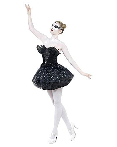 Ladies Halloween Gothic Ballerina Schwarz Schwan Kostüm Small (UK ()