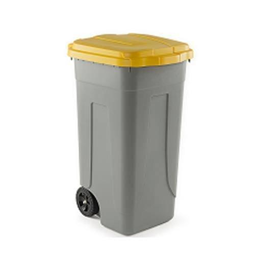 Sss bidone raccolta differenziata lt 100 coperchio giallo spazzatura, grigio, unica