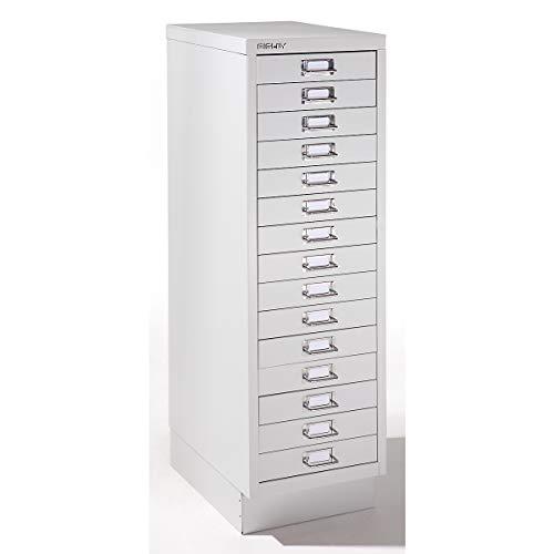 Bisley Schubladenschrank mit 15 Schubladen- Schubladencontainer im DinA4 Format- HxBxT 940x279x380 mm- ausziehbarer Büroschrank in lichtgrau
