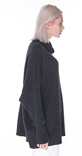 100% Kaschmir Rollkragen-Pullover für Damen in Übergröße - von cashmere 4 U Anthrazit
