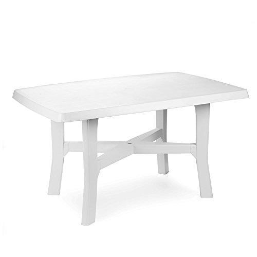 Mojawo Gartentisch Kunststoff 140x90cm Weiß rechteckig Balkontisch Gartentisch Terrassentisch Bistrotisch