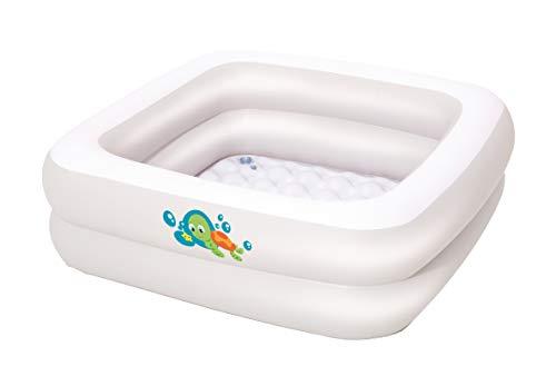 Bestway 8321066 - Piscina Hinchable Infantil redonda - Bañera Bebé (86 x 86 x 25 cm), color blanco con detalle de bebé tortuga