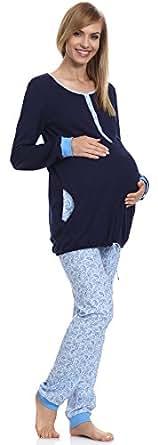 Be Mammy Pigiama Premaman Funzione Allattamento BE20-131 (Blu Scuro/Blu Chiaro, S)
