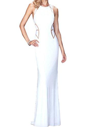 Ivydressing Damen Modisch Rundkragen Etui-Linie Charmeuse Lang Partykleid Promkleid Festkleid Abendkleid Weiß