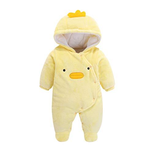 DIASTR Babykleidung Neugeborene Winter, Neugeborenes Baby Mädchen Junge Overall Mit Kapuzen Cartoon Ente Samt Spielanzug Strampler Kleider (Gelb, 3-6 (Kleinkind Gelbe Ente Kostüm)