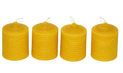 4 kleine Wabenkerzen. BIENENWACHS KERZEN aus 100% Imkerwachs - aus der Schwarzwälder Kerzenmanufaktur Höhe 6 cm Durchmesser 5 cm.
