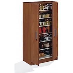 Habitdesign 007813C - Mueble armario zapatero, acabado color Castaño, medias: 108 x 55 x 36 cm de fondo