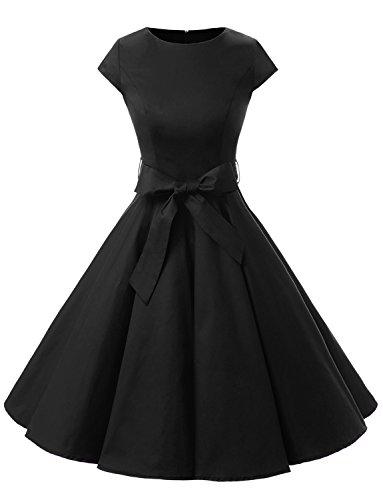 Dressystar Damen Vintage 50er Cap Sleeves Dot Einfarbig Rockabilly Swing Kleider XXL Schwarz
