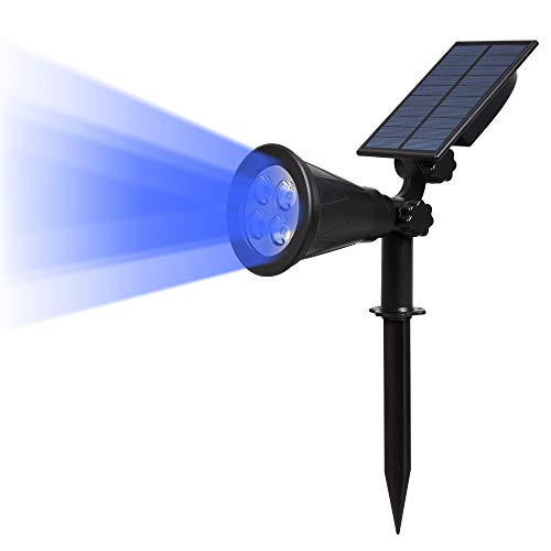 T-SUN Lampe Solaire Extérieur, Solaire Projecteur, Extérieur sans Fil Etanche IP65 Lampe Jardin avec Panneau Solaire 180° Réglable Spot Solaire Extérieur pour Cour, Extérieur, Chemin, Allé.(Bleu)