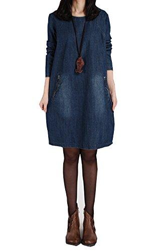 Damen Sommer Jeanskleid Beiläufige Rundhals Langarm Lose Knielang A-Linie Denim Abendkleid Minikleid Hemdkleid Partykleid Blusenkleid Passen Sie Ihr Eigenes T-shirt