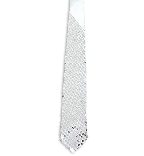 KarnevalsTeufel Paillettenkrawatte edel in verschiedenen Farben zum Binden Länge ca. 142 cm mit Bügel Karneval Party Silvester Accessoire (Silber)