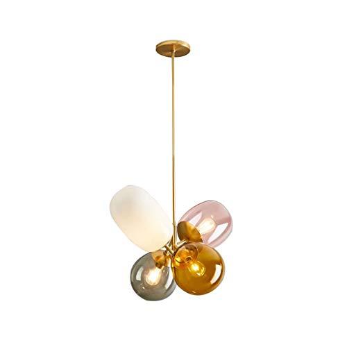 LJF Lampe Pendelleuchten Kronleuchter, Esszimmer Küche Runde Glas Beleuchtung Kronleuchter Wohnzimmer Schlafzimmer Bedside Home Art Deco Kronleuchter [Energieklasse A ++] (Holz-finish Reparieren)