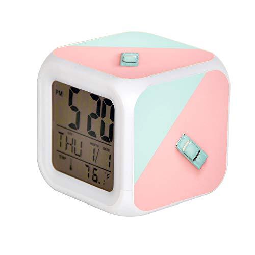 GIAPANO LED Alarm Colock 7 Farben Desk Gadget Alarm Digital Thermometer Nachtwürfel Helle Wohnkultur Klassische Blaue Coupe Druckguss Modell