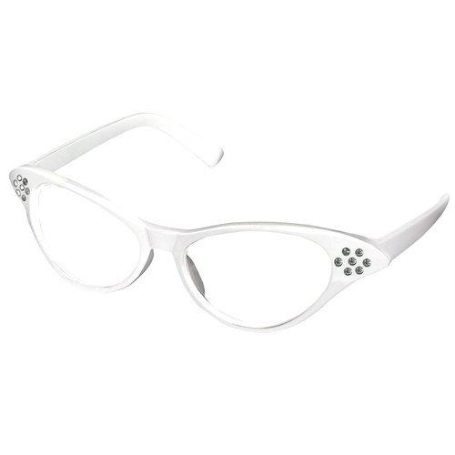 chinkyboo weiß 50er Fett Retro Damen Mädchen Katzenauge Brillen Rock Rolle Kostüm