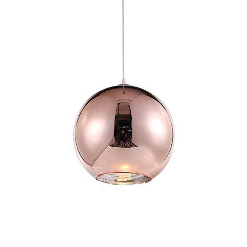 Pendelleuchte Hängelampe Runde Modern Eisen Lampenschirm Hänge Leuchter Lampen für Schlafzimmer Nachttisch Bar Kücheninsel Esszimmer Treppe Loft Hängeleuchte Kronleuchter (Roségold (Kupfer), φ20CM) (Eisen Nachttisch Runde)