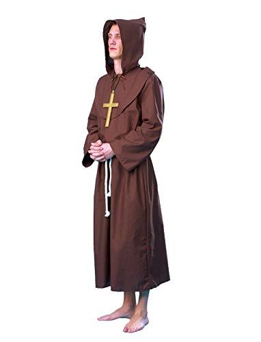 Brüder Kostüm - Kostüm Paulanermönch Größe 60/62 Herren Mönch Kutte Braun Gürtel Geistlicher Kirche Halloween Karneval Fasching Pierro's