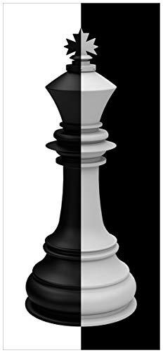 posterdepot ktt0326 Türtapete Türposter Schachfigur schwarz-weiß-Größe 93 x 205 cm