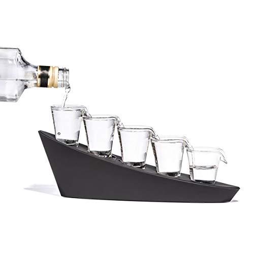 HappyCup Edle Domino Shotgläser mit 5 LED Schnapsgläser - Wodka Wasserfall Trinkspiel Party Gag