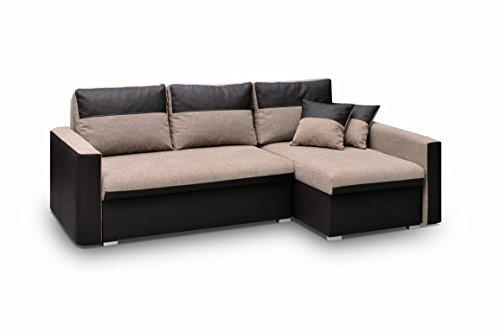 Ecksofa Sofa Eckcouch Couch mit Schlaffunktion und zwei Bettkasten Ottomane L-Form Schlafsofa Bettsofa Polstergarnitur Wohnlandschaft - BERLIN (Ecksofa Rechts, Braun)