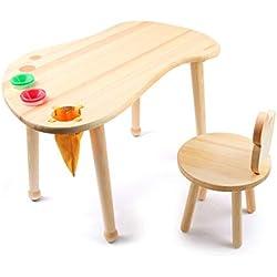 Baobë Table de Jeu en Bois Dur pour Enfants, Table à Dessin pour Enfants, Empreinte de Table en Bois Massif pour Salle de Jeux/garderie/Jardin d'enfants, Fini Naturel (Table)