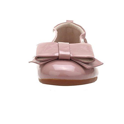 AgooLar Femme Non Talon Couleur Unie Rond Chaussures à Plat Rose