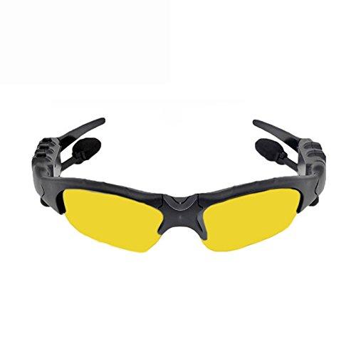 Bluetooth Brillen ollivan Intelligente Rauschunterdrückung One für Zwei Bluetooth-Bluetooth Headset 4.1Stereo Polarisierte Sonnenbrille für Musik Anrufe gelb