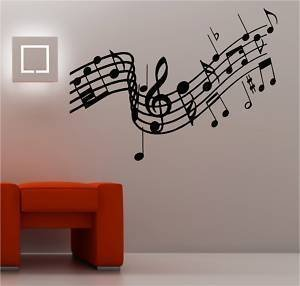 Online Design Huge Musical Notes Music Wall Art Sticker Lounge Vinyl   Black Part 19