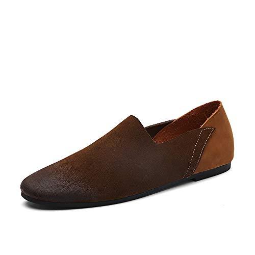 HANDHABUNG Loafer for Männer Mode Driving Boat Mokassins Individuelle Nähte Komfortable Low Top Slip On (Color : Braun, Größe : 43 EU) -
