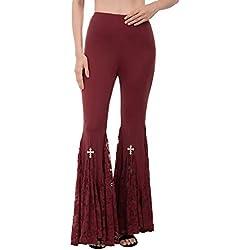 SCARLET DARKNESS Mujer Pantalones de Campana Entallado Leggings Casuales con Encaje Otoño Invierno Burdeos 2XL
