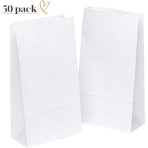 (50 Papiertüten Weiß Geschenktüten Tütchen 14 x 26 x 8 cm klein Kraftpapier tüten Kraftpapiertüten Adventskalender Süßigkeiten Geschenk Papier kleine KGpack mini keks Papierbeutel Kindergeburtstag)