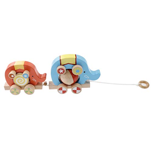 Unbekannt Baoblaze Elefant Ziehen Wagen Autos Spielzeug Nachziehtiere Ziehtiere aus Holz für Kinder Jungen Mädchen, 27 x 6 x 12 cm
