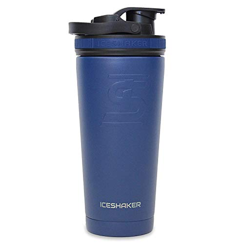 Ice Shaker Stainless Steel 750 ml Insulated Leak Proof double wall vacuuxing Cup for gym/cycling/travelling/training/office (Navy 26oz) (As sem insulated Water Bottle Protein Shake Mien on SHARK TANK)