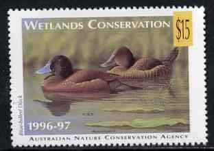 Cinderella - Australian Nature Conservation Agency 1996-97 Wetlands Conservation $15 stamp showing Blue-Billed BIRDS DUCKS JandRStamps -