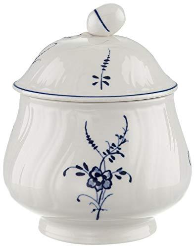 Villeroy & Boch Vieux Luxembourg Zuckerdose, Premium Porzellan, Weiß/Blau