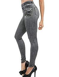 Jeans, GreatestPAK Femmes Denim Yoga Pantalons Slim Leggings Fitness Plus  La Taille Longueur 756a6099e433