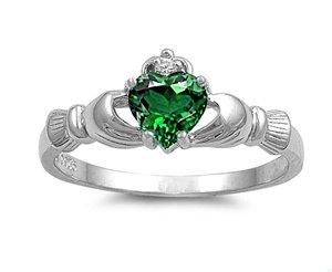 Kleine Schätze - Damen-Ring/Verlobungsring Claddagh - 925 Sterlingsilber - Smaragd Zirkonia