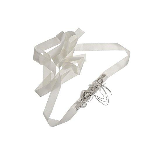Generic Bridal Dress Belt Rhinestone Trim Crystal Bead Applique For Wedding Sash