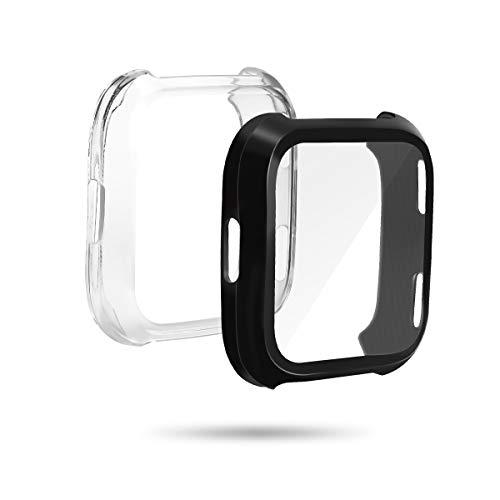 LANMU Schutzhülle für Fitbit Versa, 2 Stück Displayschutzhülle Hülle Cover Case kompatibel mit Fitbit Versa Smartwatch (schwarz und klar) Klare Schutzhülle
