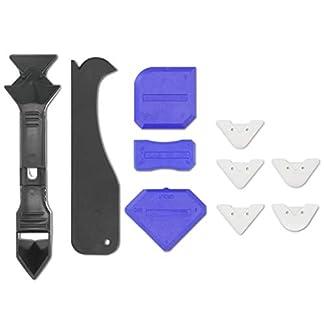 Navaris Set de 10 herramientas para aplicar y quitar silicona – Kit para reparar juntas de baño – Espátula aplicador rascador rasqueta y alisador