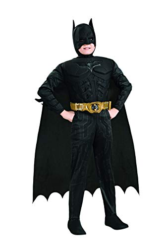 Kinder Dark Knight Kostüm Deluxe Batman - Halloweenia - Jungen Kinder Batman The Dark Knight Trilogy Deluxe Kostüm, perfekt für Karneval, Fasching und Fastnacht, 92-98, Schwarz