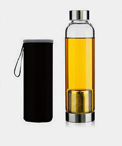 Styleys Green Tea Infuser/Detox Water Bottle with Stainless Steel Filter and Sleeve (Black, 550ml)