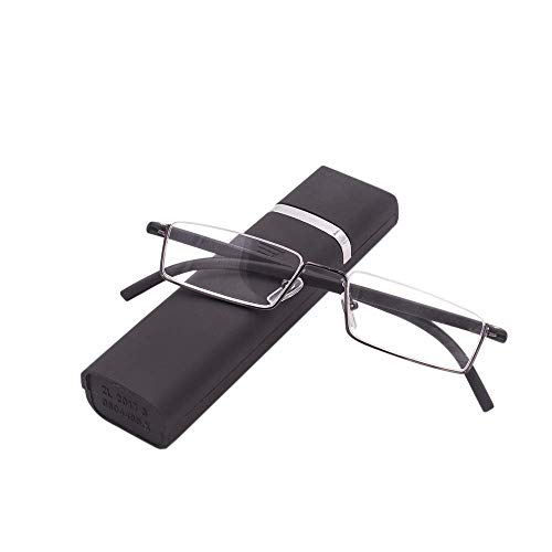 Lesebrille mit Ultraleichtem TR90 Rahmen Lesehilfe Halbbrille aus Metallrahmen mit Halbrahmen Sehehilfe mit Brillenetui für Damen und Herren(Schwarz,+2.0)