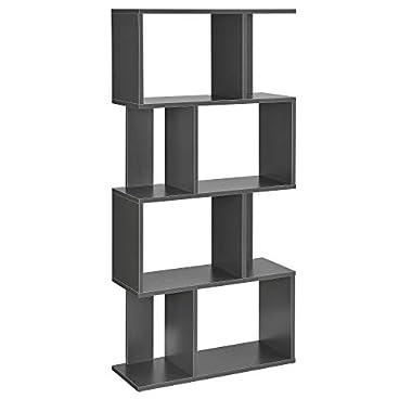 [en.casa] Bücherregal Regal Standregal Medienregal Aktenregal Aufbewahrung Büro Dunkelgrau