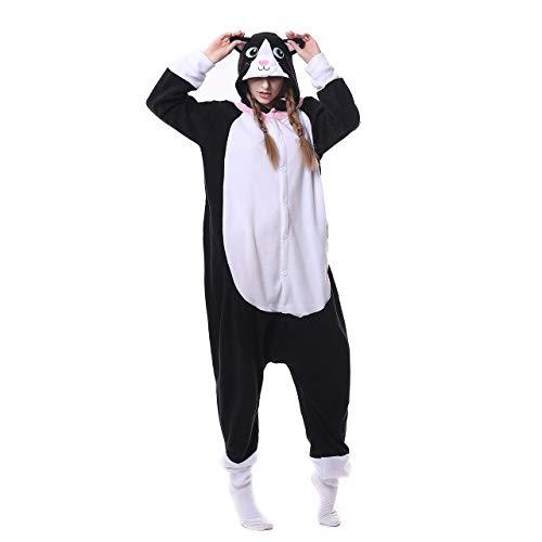 Pyjamas Jugend Bekleidung Animal Erwachsene Unisex Schlafanzüge Karneval Onesies Cosplay Jumpsuits Anime Carnival Schwarze Katze Spielanzug Partei Kostüme Spielanzug Kostüme Weihnachten - Jugend Schwarze Katze Kostüm