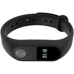 Uhr kingko® Herren Damen Ersatz Armband Band Bügel + Metallschnalle Für Xiaomi Mi Band 2 Armband (Schwarz)