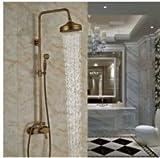 galvanoplástica Retro Grifo de cadena de oro de lujo & blancas baño ducha de lluvia, ducha grifo en baño & ducha grifo, en la pared Montado