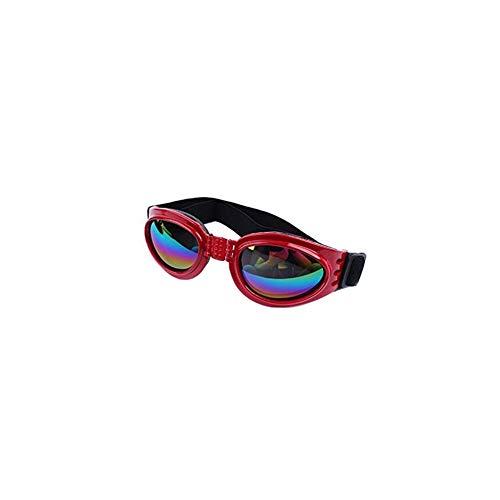 AAGOOD Pet-Schutzbrillen Hundesonnenbrillen Bunte UV Brillen Schutz mit verstellbarem Gurt für Hunde Red