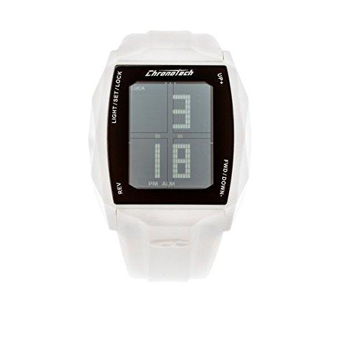 Chronotech RW0024 - Reloj para hombre con correa de caucho, color blanco / gris