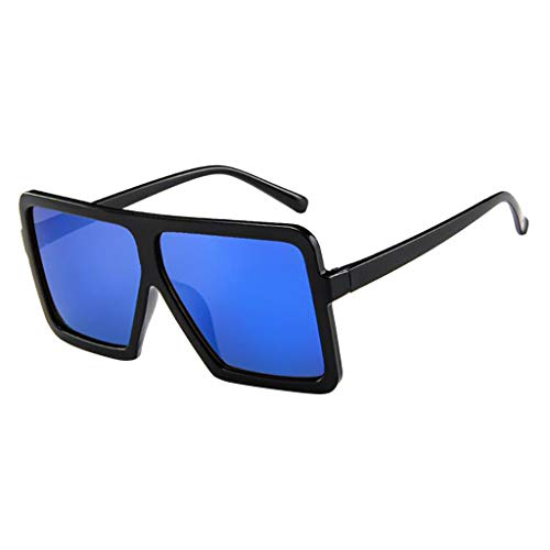 Lazzboy Frauen Männer Vintage Retro Brille Unisex Big Frame Sonnenbrille Eyewear Design Herren Und Damen Mode übergroße Cat Eye(Blau)