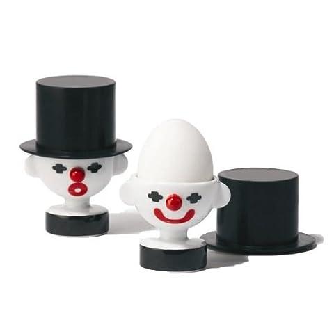 Clown En Porcelaine - Po Selected Clown Coquetier Porcelaine/silicone Noir/blanc/rouge 7